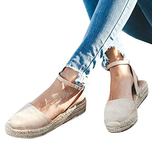 (LAICIGO Women's Platform Espadrilles Wedge Cap Toe Strappy Slingback Faux Suede Dress Sandals with Buckle)