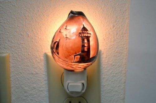 Hand Carved Purple Cowrie Shell Lighthouse Beach Nightlight Bathroom