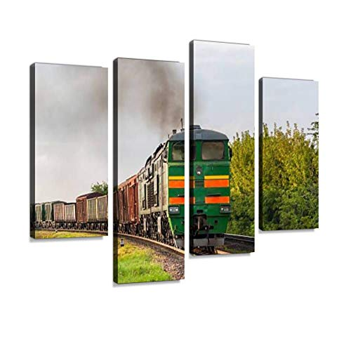 Freight Train hauled by Diesel Locomotive. Belarusian Railway Canvas Wall Art Hanging Paintings Modern Artwork Abstract Picture Prints Home Decoration Gift Unique Designed Framed 4 Panel