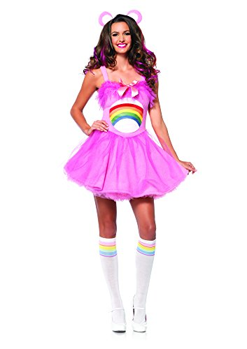 Leg Avenue Women's Care Bears 2 Piece Cheer Bear Costume, Light Pink, Small/Medium ()
