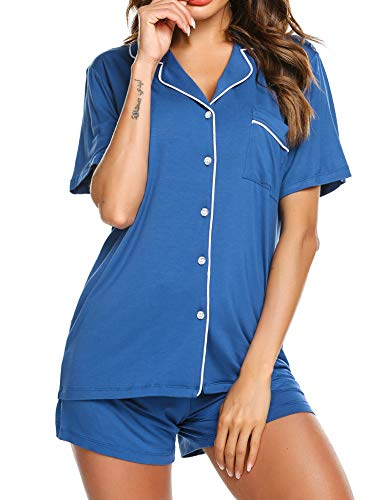 - Ekouaer Pajamas for Women Soft Jersey Knit Sleepwear Loungewear (Blue,M)