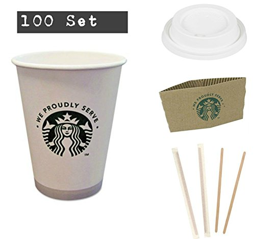 Starbucks Cups with Lids 100 Study Coffee Hot Cups with Travel Lids, Sleeves and Stirrers, Disposable Cups 12 OZ, White Hot Cups To Go, Office, Parties, Weddings, Hot Chocolate Bar Hustle 100 Set