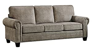 Homelegance Cornelia Rolled Arm Sofa with Nail Head Accent Polyester Fabric Cover, Sand