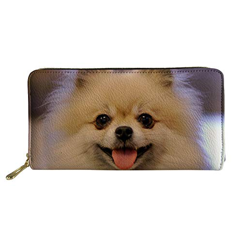 HUGS IDEA Animal Pattern Leather Wallet Casual Clutch Wallet Adorable Pomeranian Pattern Card Holder Clutch (Pomeranian Coin Purse)
