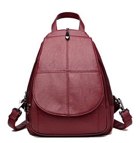 AllhqFashion Violet Femme Daypack Sacs à bandoulière Sacs dos Vineux Rouge Zippers École FBUFBD181522 à qqRFpxwPHr