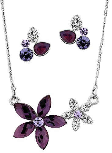 Neoglory Cristal Amatista Stud Pendientes/Collar Mujeres Conjuntos De Joyas marca
