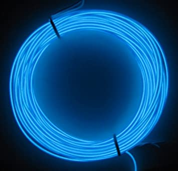 5M Blue 2.3mm Diameter EL Wire Light Tron Neon Glow Rope with ...