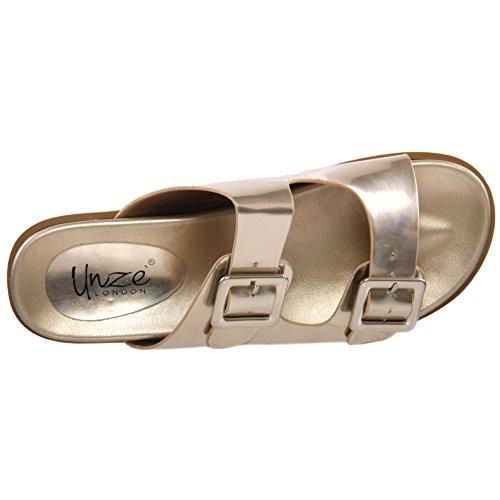 Unze Für Frauen Shae 'Flat Buckled Slippers - X2-1