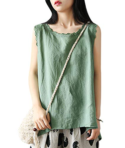 YESNO Women Casual Loose Embroidered Sleeveless Blouse Vest Summer Linen Tank Tops 'A' Skirt Hi-Low Hem Y55 (L, Y55 Green)