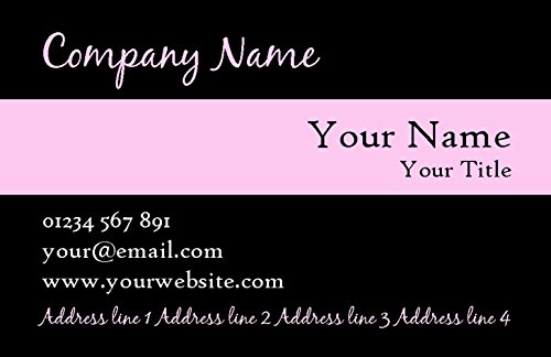 Black With Baby Pink Stripe Personalized Business Cards by The Card Zoo