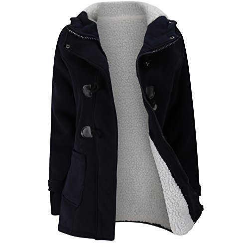 - Photno Womens Pea Coats Winter Warm Wool Blended Fleece Lined Long Thicken Parkas Jackets Overcoat Outwear Navy