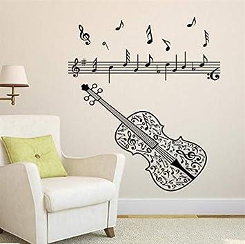Hjcmhjc Guitarra Notas De Música Eléctrica Acordes Rock Tatuajes De Pared Para Niños Dormitorio Decoración Del Hogar Pelar Y Pegar Size50 * 80 Cm: ...
