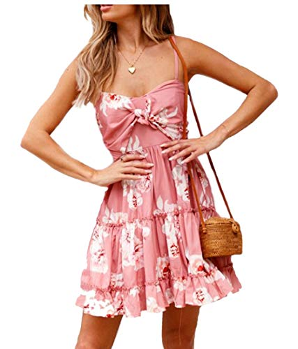 Strap Spaghetti Knot Pink Casual Women Swing Tie Floral Mini Dress Flowy ainr Pleated ZqHTwT