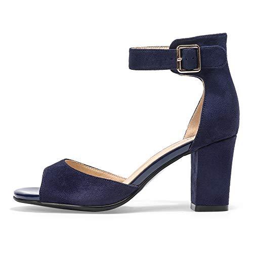 IDIFU Women's Candie-MI Peep Toe Low Block Heels Sandals Ankle Strap Comfy Chunky Wedding Dress Shoes