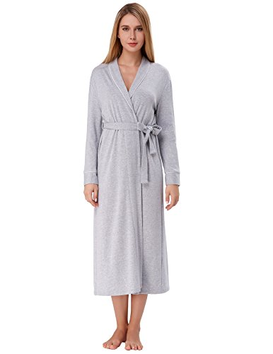 (Zexxxy Warm Robes for Women Long Soft Cotton Blend Wrap Robe Terry Cloth Light Grey M)