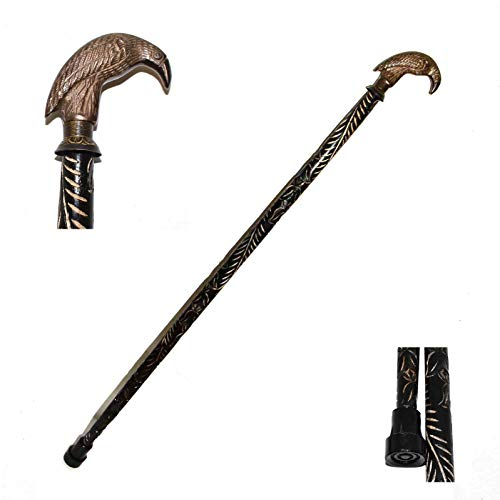 Brass Nautical Walking Stick Raven Crow Wood Cane Classic Style Wooden Cane for Men and Women ()