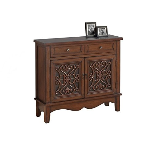 Monarch Glass Traditional Style Accent Chest, Dark Walnut