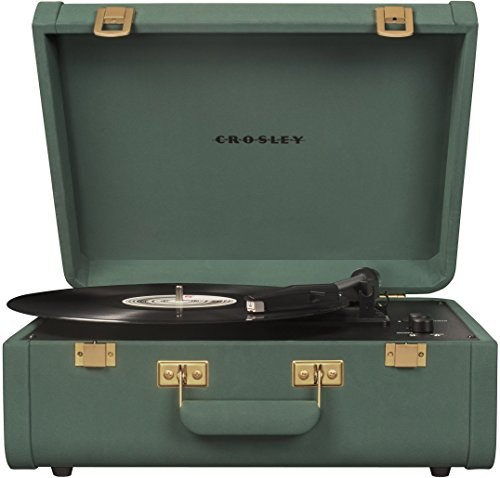 Crosley CR6252A-QL Portfolio Vintage 3-Speed Bluetooth Suitcase Turntable with Built-in Speakers, Quetzal