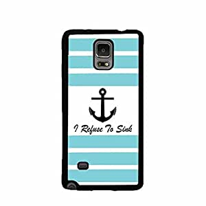 Stripe Turquoise and White Anchor I Refuse to Sink Galaxy Note 4 Rubber Phone Case