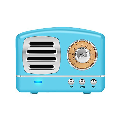 Portable Bluetooth Stereo Speaker, Dosmix Enhanced Bass Retro Wireless Vintage Speaker with TF Card Slot, Built-in Mic for Travel, Home, Beach, Kitchen, Outdoors for Android/iOS Devices (Sky Blue) by Dosmix