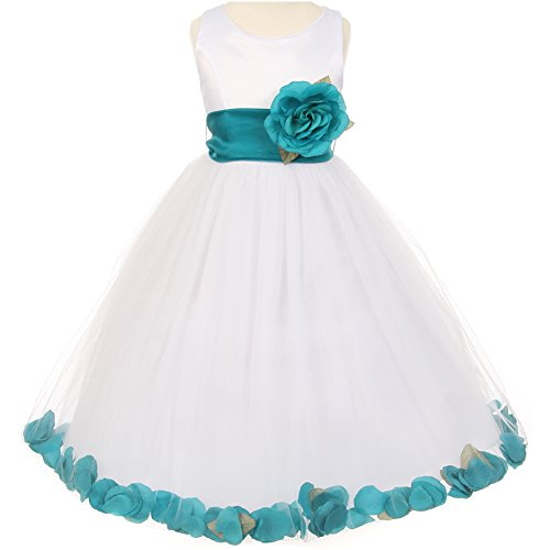 CrunchyCucumber Big Girls Sleeveless White Satin Bodice Layers Tulle Skirt Teal Flower Brooch and Petals Girl Dress - Size 14