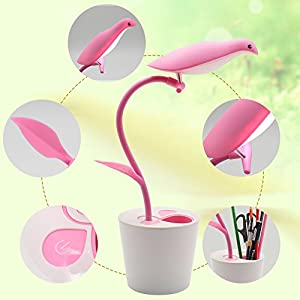 Touch LED Desk Lamp with Rechargeable USB Cable, Flexible Neck Led Night Light Bedroom Lamp, 3 Levels of Dimmable Table Lamps,Touch-Sensitive Control and Cute Bird Pen Container Lamp(Pink)