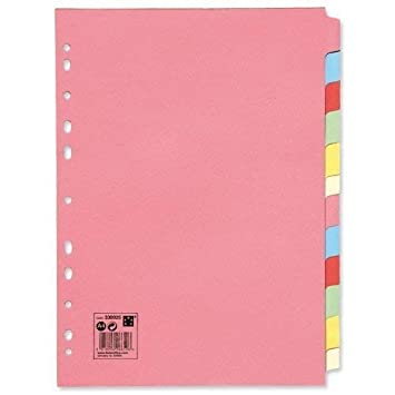 Pink 3 x Office Subject Dividers Multipunched Manilla Card 12-Part A4 Assorted
