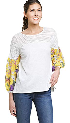 Top Print Mixed Sleeve - Umgee Women's Floral Mixed Print Puff Sleeve Knit Top (Large, Off White)