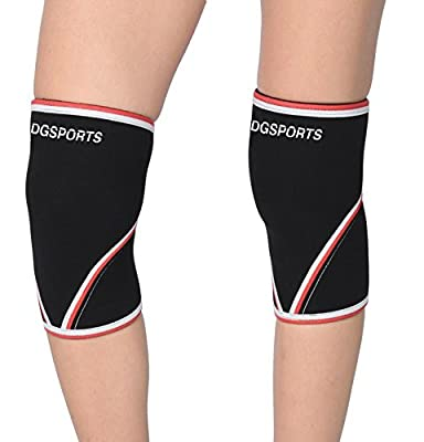 DG Sports 1 Pair Compression Knee Sleeves for Powerlifting & Running & Weight Lifting 100% neoprene sleeve for the Best Squats - Knee Brace for Women & Men