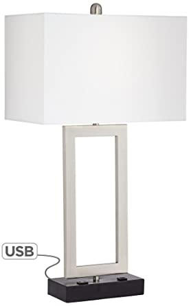 nightstand lamp with usb port charging station possini euro todd metal table lamp with usb port and outlet
