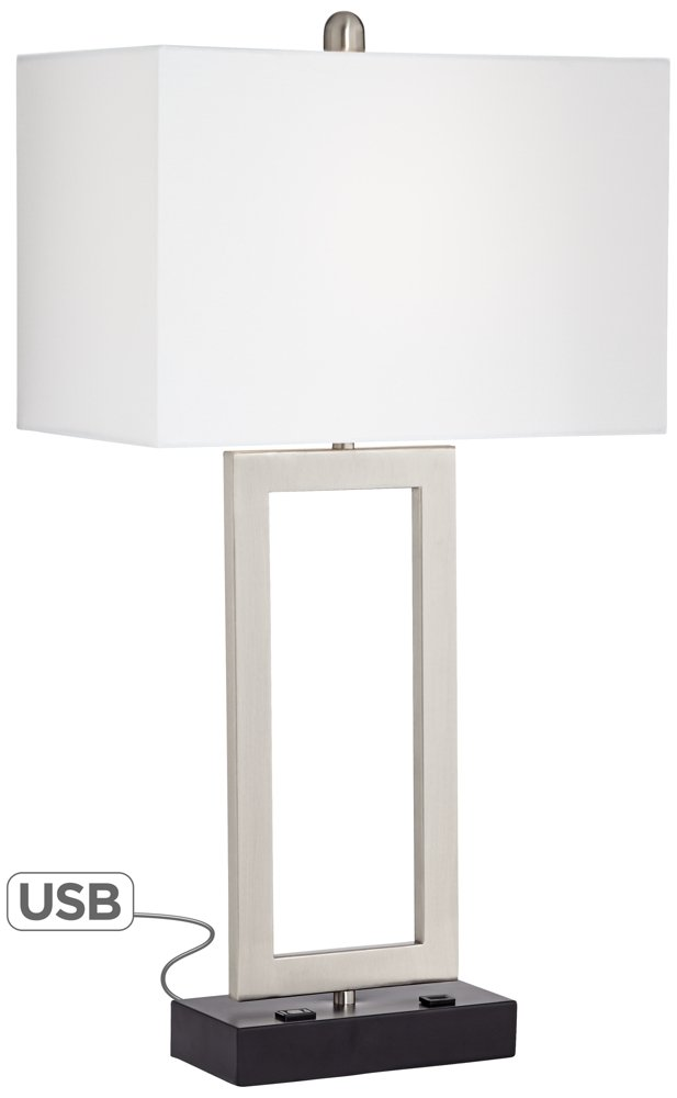 Possini Euro Todd Metal Table Lamp with USB Port and Outlet