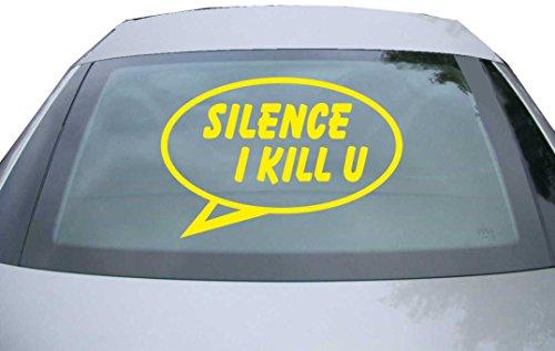 INDIGOS UG Sticker for rear window & engine flap DE2450 - yellow - 600x400 mm - Silence I Kill you - for car, windows, tailgate, tuning, racing, JDM/Die cut
