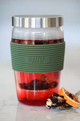 Simple to Brew Loose Leaf Tea Infuser Cup with Glass Strainer, Stainless Steel Lid and Drip Tray