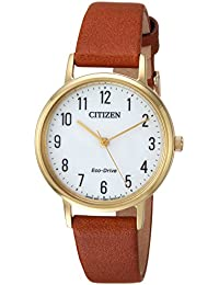 Women's 'Eco-Drive' Quartz Stainless Steel and Leather Casual Watch, Color:Brown (Model: EM0572-05A)