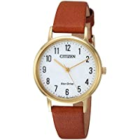 Citizen Women's 'Eco-Drive' Quartz Stainless Steel and Leather Casual Watch, Color Brown (Model: EM0572-05A)