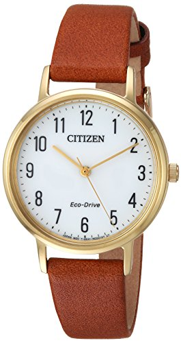 Citizen Women's 'Eco-Drive' Quartz Stainless Steel and Leather Casual Watch, Color:Brown (Model: EM0572-05A)