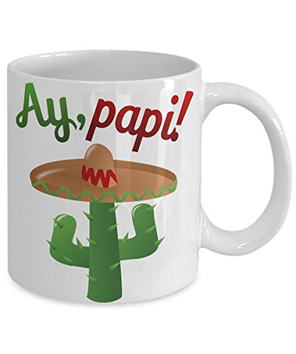 Cinqo de mayo mug. ay, papi! with cactus and sombrero cute latino mug for fathers day cute mug for boyfriend mug for husband hispanic gifts