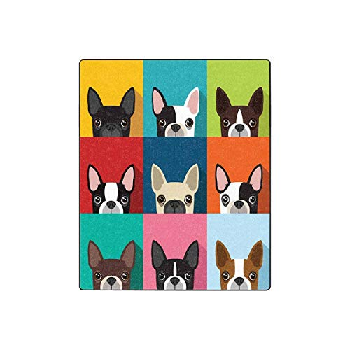 INTERESTPRINT Boston Terrier Super Soft Fleece Blanket 50