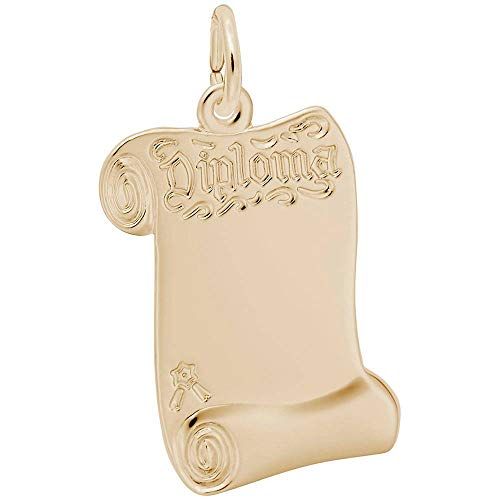Custom Engraving (up to 16 characters) Rembrandt Charms, Graduation Diploma, Large, 22k Yellow Gold Plated Silver