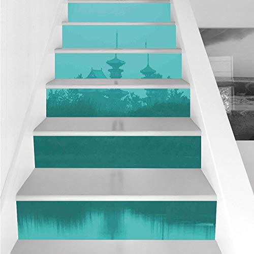 Stickers,6 PCS Self-adhesive,Asian,Various Temples above the Sea Holy Tank in Fog Symbolic Faith Custom Pagoda Monochrome Decorative,Turquoise,Stair Riser Decal for Living Room, Ha ()