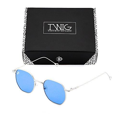 sol espejo de Azul Gafas hombre BASQUIAT Transparente Plata TWIG mujer w6p5xI