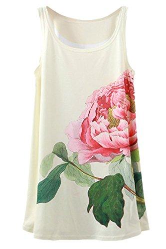 Pink Queen Women's Peony Printed Sleeveless Loose Vest Tank Tops