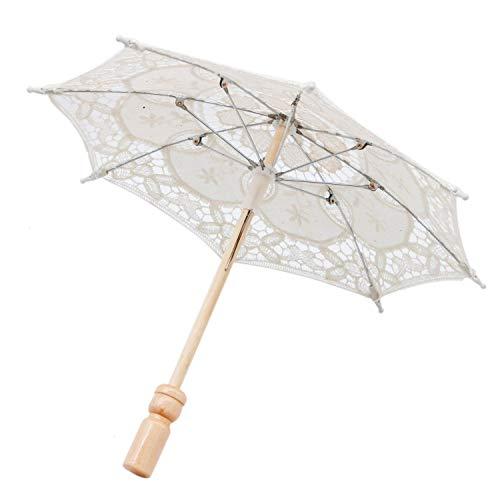 JETEHO 12'' Mini Vintage Wood Embroidery Pure Cotton Lace Umbrella Wedding Umbrella So Small for Wedding Gift Photo Props Kids -