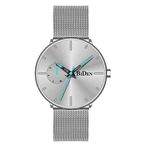 Mens Watches Minimalist Ultra Thin Waterproof Fashion Dressy Wrist Watch for Men Milanese Stainless Steel Mesh Band Day Calendar Business Dress Casual Luxury Quartz Analog Watch - Silver