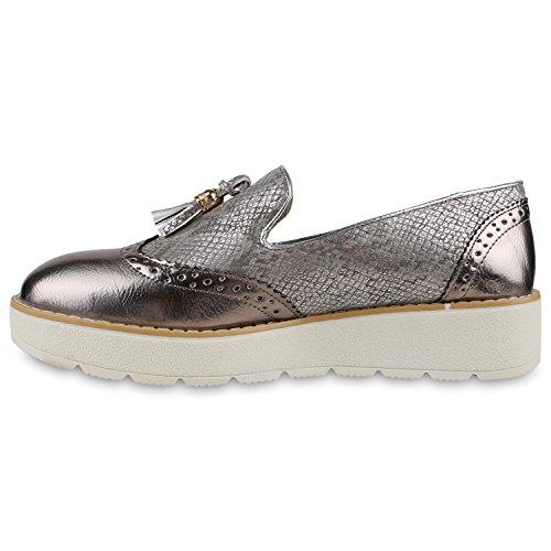 Damen Slipper Lack Plateau Loafers Metallic Schuhe Profilsohle Loafer Flats Glitzer Slippers Quasten Lochung Flandell Bronze Quasten