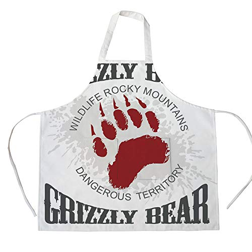 - Cotton Linen Apron,Two Side Pocket,Cabin Decor,Grunge Grizzly Bear Footprint Emblem Dangerous Wildlife Rocky Mountains Decorative,Grey Red White,for Cooking Baking Gardening