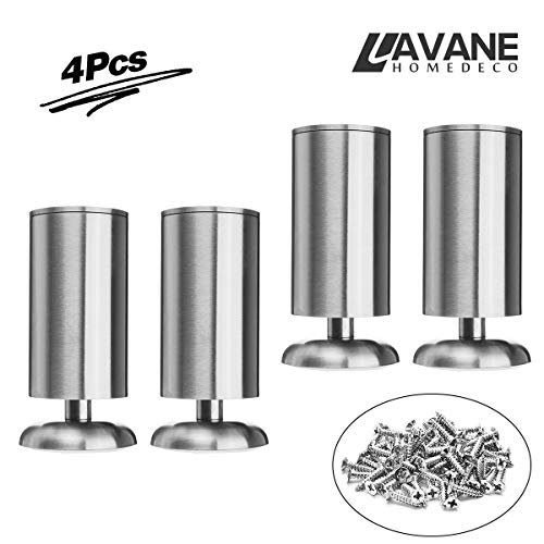 6 inch / 15cm Furniture Legs, La Vane Set of 4 Stainless Steel Cabinet Feet for Cupboard Sofa Kitchen Couch Bookcase