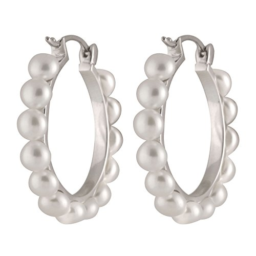 Handpicked 4-5mm Button Freshwater Cultured Pearls 925 Sterling Silver Hoop Earrings