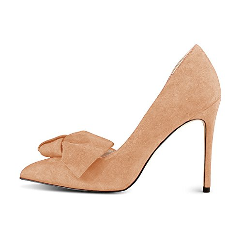 Chic High Pumps FSJ Shoes Size with Suede 4 Toe Nude Heels Dress D'Orsay 15 Women Bowknot US Pointy 5w7vwgSq