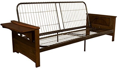 Valet Attached End Table Style Frame Futon Sofa Sleeper Bed Frame, Full-size, Walnut Arm Finish